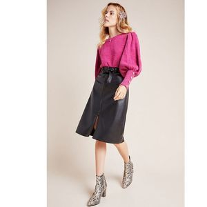 Anthro Marceline Faux Leather A-Line Midi Skirt